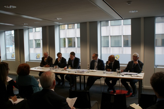 The Panel debate begins - Alain Berger, Jonas Berggren, Cristofer Fjellner, Suren Thiru, Craig Burchell